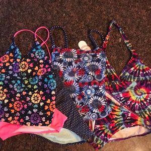 3- Girls Tankini 2piece bathing suits size 10 / 12